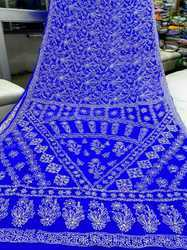 Royal Blue Chikan Saree