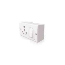 White GM 8569 Evon 3-In-One Switch With Gang Box, ON/OFF, Module Size: 1 Module