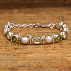 Everyday 925 Sterling Silver Handcrafted Mix Gemstone Beaded Bracelet, Size: Adjustable