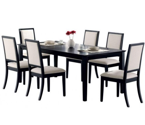 7 Piece Dining Set Black Table 6 Solid Wood Seats