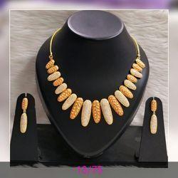 Konnect Box Golden Designer Partywear Necklace Set