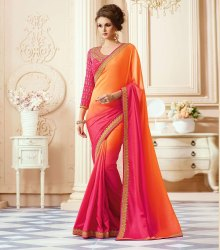 Designer Simple Georgette Saree With Embroidery Blouse