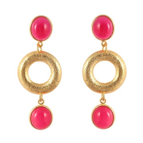 47ae76294 Product Image. Brass Gold Plated Brushed Texture Circle Oval Pink Earring