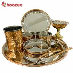 Choozee - Copper Thali Set (10 Pcs) of Plate, Bowl, Spoon,Glass & Ice-Cream Cup