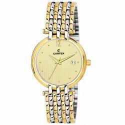 Round Casual Watches Cartex Mens Golden Wrist Watch, Model Name/Number: G50DDTT02