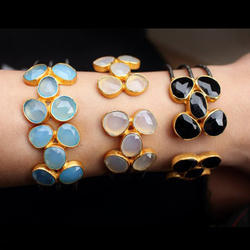 Bezel Setting Multi Natural Gemstone Women Cuff Bracelet