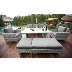 Grey Cane Wicker Outdoor Sofa Set with Table