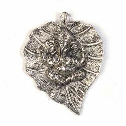 White Metal Leaf Ganesha Hanging 322