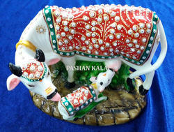 Marble Gold Painted Kamdhenu Cow