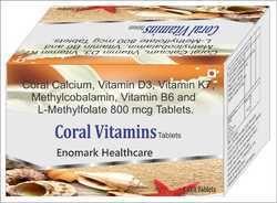 Coral Calcium, Vitamin D3, Vitamin K-27, Methylcobalamin, L-Methylfolate Tablets
