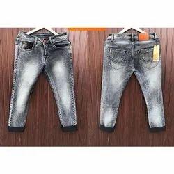 Comfort Fit Grey Mens Faded Denim Jeans