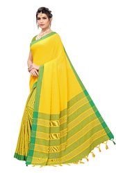 Cotton Silk Party Wear Yellow Saree With Blouse Piece