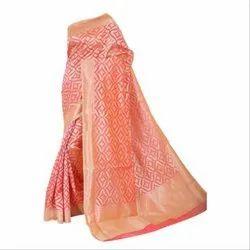 Party Wear Banarasi Silk Designer Semi Silk Banarsi Saree, 5.5 m (separate blouse piece)