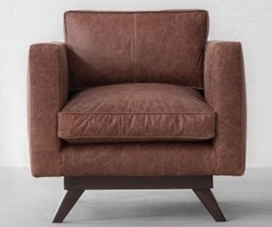 Single Seater Brown Leather Sofa, Leather Furniture