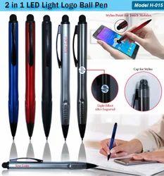 2 In 1 LED Light Logo Ball Pen H-015
