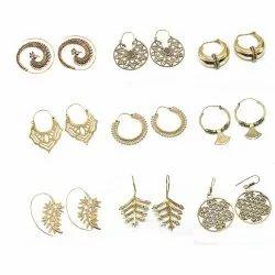 Brass Hoop Tribal Spiral Earring