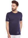 100% Cotton Men Short Sleeve Solid Dark Blue Round Neck T-Shirt