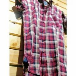 Checked Collar Neck Casual Wear Cotton Shirt, Packaging Type: Packet