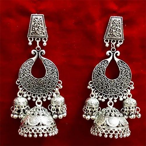 D9 Creation Silver Oxidized Heavy Artificial Earrings