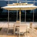 Poolside Table Chair Set with Umbrella