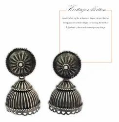Handmade Beautiful Silver Oxidized Hoop Earring For Woman and Girls