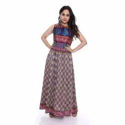 Viscose Party Wear Long Sari Silk Dresses, Handwash