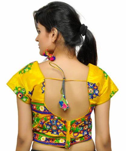 9aa1066a6a815c Banjara India Women' s Dupion Silk Aari Embroidered Short Sleeves Kutchi  Blouse - Yellow