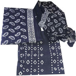 Unstitched Cotton Suit With Cotton Dupatta