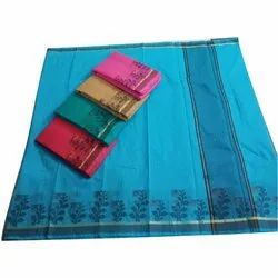 Party Wear Printed Indian Cotton Border Saree, 6.3 M (With Blouse Piece)