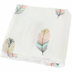 White Premium Brand Printed Bamboo Cotton Swaddle