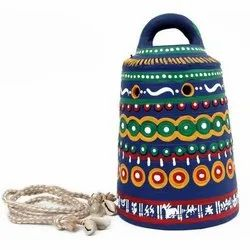 Blue Hand Painted Terracotta Bell