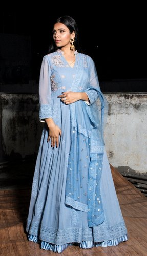 Move Blue Georgette Chikan Anarkali Suit, For Party Wear
