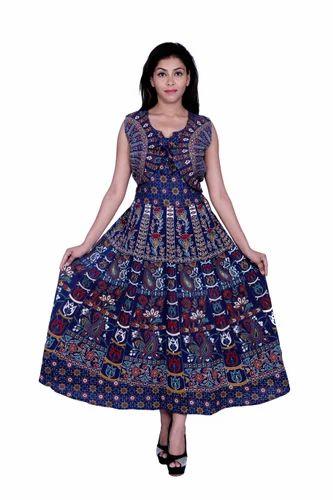 Women Cotton Blue Casual Wear Middy Dress 665c48b76f