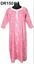 Cotton Hand Block Printed Women's Long Nighty Dress DR150