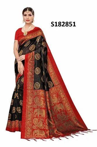 5ecf7f3b099e92 MYSORE SILK SAREE - Kalamkari Mysore Silk Saree With Jhalor ...