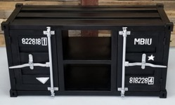 Black Industrial Metal TV Cabinet, Container Style