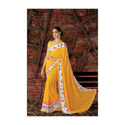 Georgette Yellow Saree, With Blouse Piece