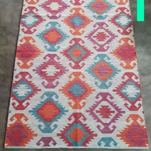 Woven Multicolor Jacquard Handmade Cotton Rug, Size: Multiple Size