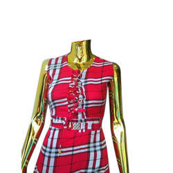 Cotton Checkered Girls Fancy Top, Size: S, M & L