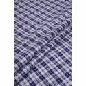 Blue And White Linen Chambray Check Fabric, Gsm: 50-100
