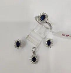 Elegant High Quality Oval Shape Sapphire Gemstone Pendant Necklace Earring Sets Wedding Jewelry Sets