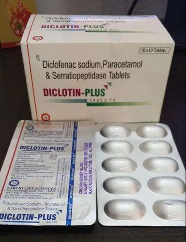 Diclotin Plus Brand Diclofenac Sodium 50 Mg Paracetamol 325 Mg Serratiopeptidase 15 Mg In Pan India Form Tablet Rs 990 Box Id 22419757491