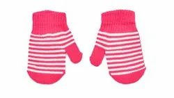 Designer Pink Full Finger Woolen Gloves