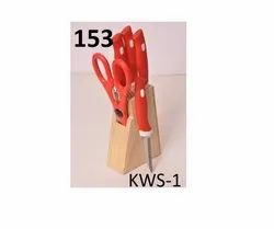 Kitchen Knife Set Block and Scissors,Knife Set with Stand, Knife Holder for with Knife 5-Pieces