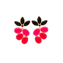 Fuchsia And Black Onyx Handmade Bezel Silver Micron Gold Plated Fashionable Earring
