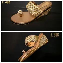 Women Bridal Metallic Wedge Sandal