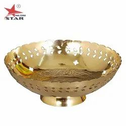 Pure Brass Golden Brass Fruit Bowl, for Home, Shape: Round
