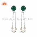 Fine Silver Pearl and Green Onyx Gemstone Chain Earrings