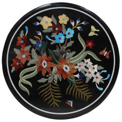 Pietra Dura Marble Inlaid Dining Table Top
