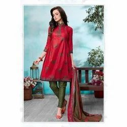 Ladies Embroidery Cotton Unstitched Suit, Machine wash